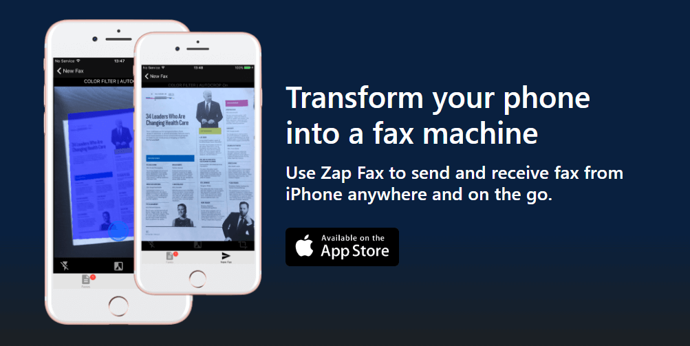 Zap Fax lets you send and receive fax from iPhone wirelessly on the go.